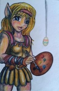 äggmålande alv akvarelltest