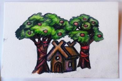 Äppelträd o stuga akvarellpenntest