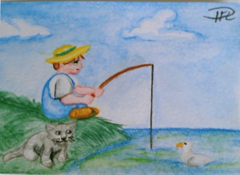 Metande pojke akvarellpenntest