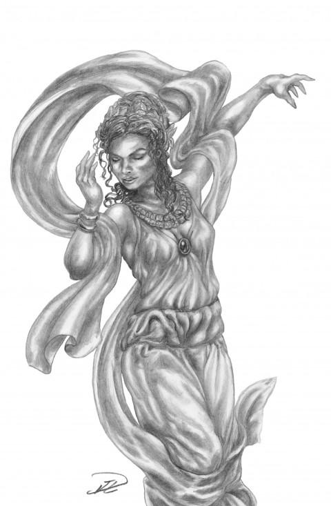 Romersk nymf dansande skiss nymph
