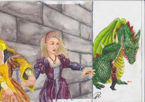 Amanda Julia Draken Pelle Akvarell