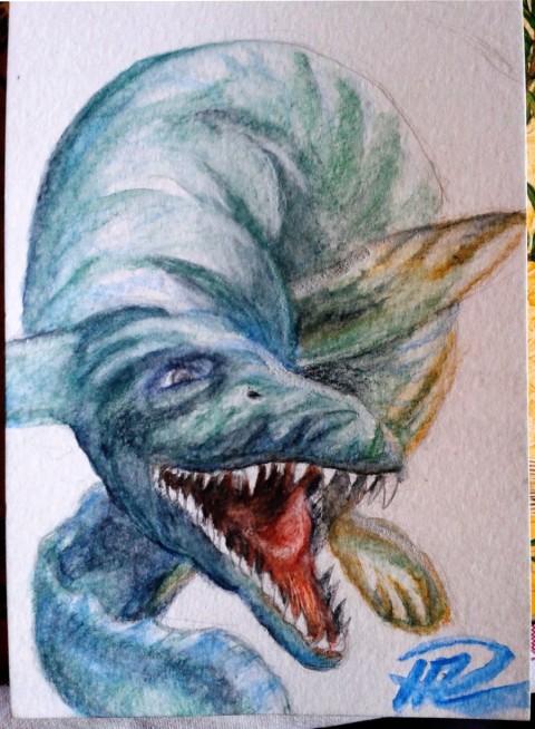 Julians Mosasaurus akvarellpennor efter vatten