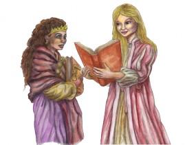 Julia & Amanda skiss+akvarell