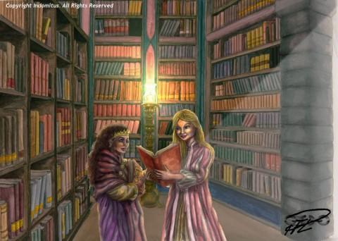Julia & Amanda läser böcker i Stora Läsesalen Bibliotek behandlad resize m logga
