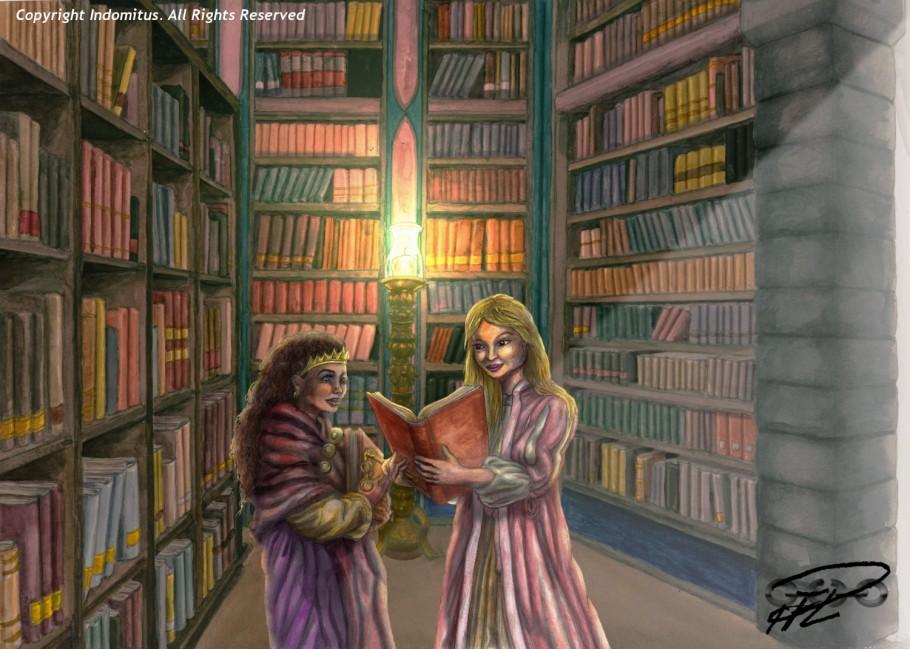 Julia & Amanda m böcker i Biblioteket målad & behandlad