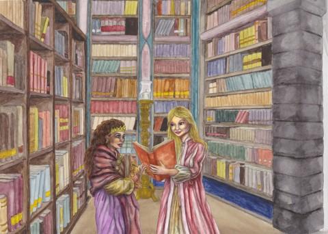 Julia & Amanda läser böcker i Stora Läsesalen resize