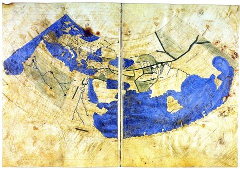 Byzantine Greek world map from Ptolemy's first (conic) projection -Codex Vaticanus Urbinas Graecus 82, Constantinople c 1300
