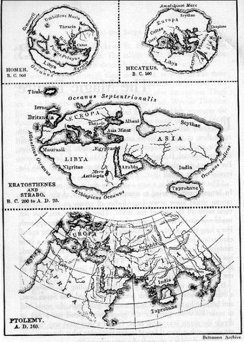Grek kartor Homeros Hecateos Strabo Ptolemeus maps 900 BC-160 AD