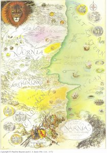 Karta för C.S. Lewis värld Landet Narnia (1949-1954) med omgivningar