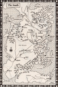 Map the_south_a_clash_of_kings George R Martin A Song of Ice and Fire karta