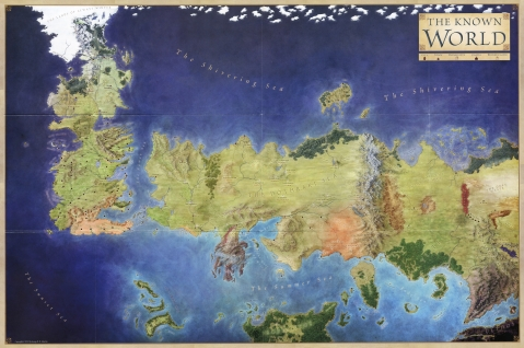 The World of A Song of Ice and Fire map George R Martin karta