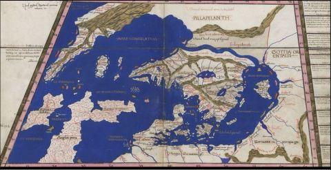 Ptolemeisk karta uppdaterad för Norden – se dock hur Grönland tänktes hänga ihop m Ryssland. Från Zamoyski-codexen 1467