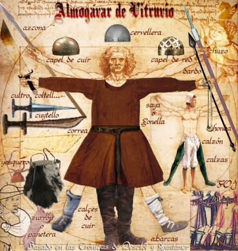 """Illustration av Almogávars utrustning. Notera de föga """"ridderliga"""" vapnen, som slaktarkniven/kortsvärdet Coltell eller Cuytello, och Azcona, kastpjuten."""