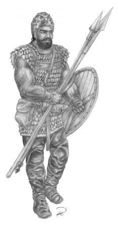 Almutamer-krigare, skiss
