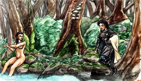 Kati & Corinna i skogstjärn akvarell m tuschpenna