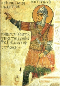 Byzantine_soldier fresco_from_St-Lucas