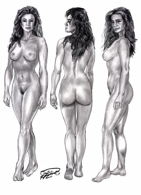Renata de Mazzatti skiss blyerts Nakenstudie Ava Fabian 2 resize