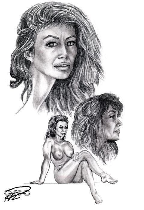 Renata de Mazzatti skiss blyerts porträtt & naken pose 1 Ava Fabian resize