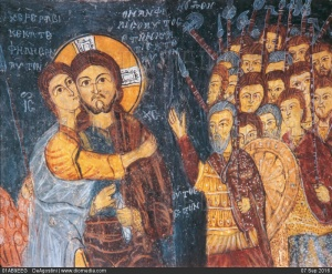 """Fresco av """"Judas Kyss"""" i Johanneskyrkan i Karsi Kilise från 1212, med varjager som de romerska krigsmännen i bakgrunden."""