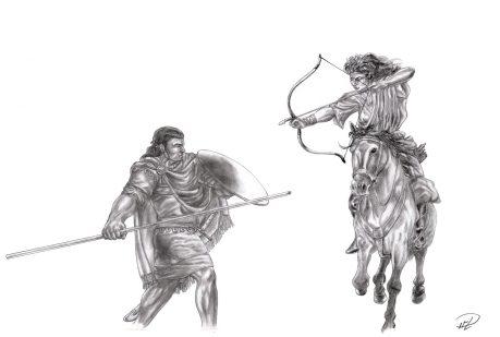 Corinna & Yakane ridande bågskytt vs spjut fot