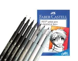 faber-castell-pitt-acid-free-manga-non-toxic-artists-pen-set-assorted-tip-color-set-of-8-409651-ballpoint-pens-pencils-markers