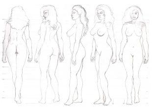 Corinnas figur linjeskisser