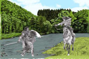 Corinna & Yakane tränar häst vs fot smetad merged mamluk archery träning sparring composite färg 1