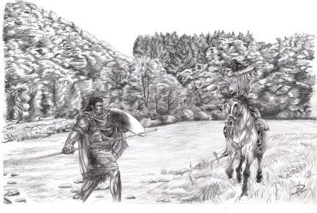 Corinna & Yakane tränar häst vs fot smetad merged mamluk archery träning sparring monterad