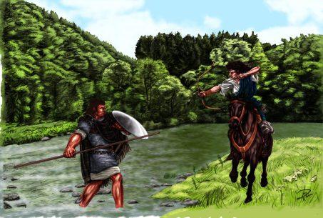Corinna & Yakane tränar häst vs fot smetad merged mamluk archery träning sparring monterad färg 2