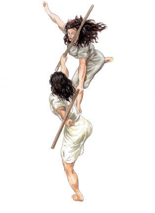 Kati & Corinna uppifrån akvarell