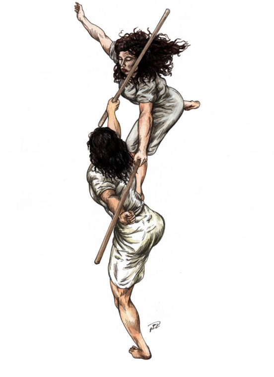 Kati & Corinna uppifrån akvarell & tusch