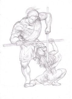 Kati & Yakane Stavträning riposte fäktning fencing skiss