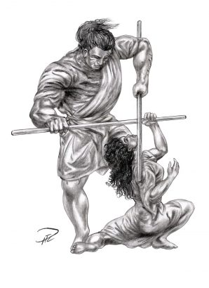Kati & Yakane Stavträning riposte fäktning fencing teckning smetad