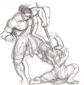 Kati & Yakane Stavträning riposte fäktning fencing utkast
