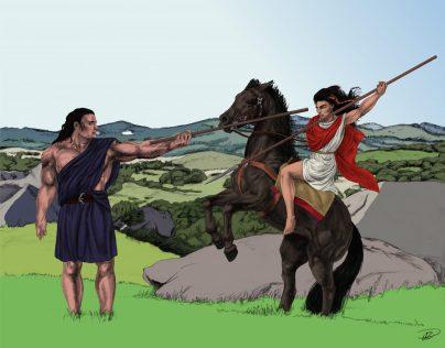 Kati Spjut t häst Yakane Fot träning m bakgrund basfärger