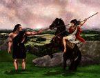 Kati & Yakane stridsträning m stegrande häst färglagd