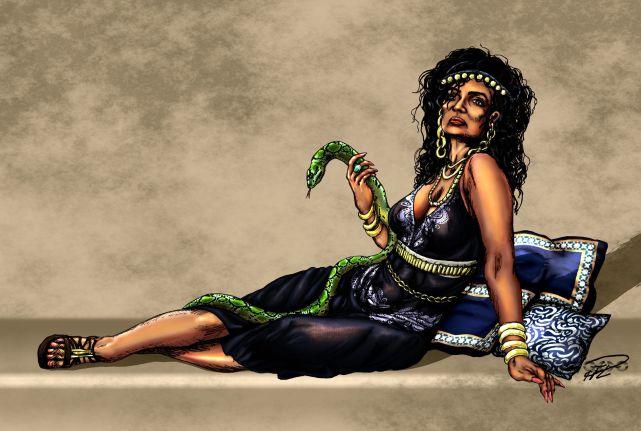 Isavi with a snake