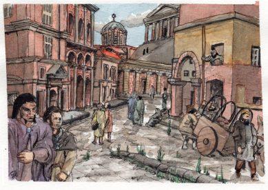 Yakane & Jack promenad i Extraion, bläckskiss m akvarell