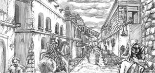 Corinna går genom gata söder om Nya Rikets kyrka 2