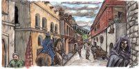 Corinna söder om Neakyrkan, akvarell på teckning