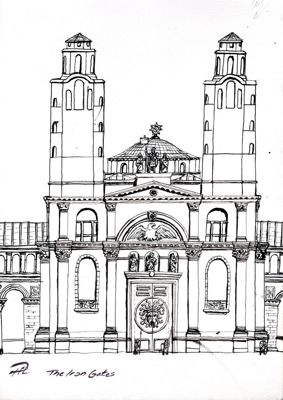 Aracanea - Järnportarna skiss ink sketch dok 150dpi